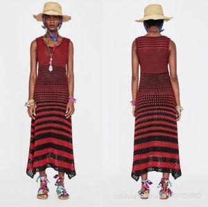 Zara Collection Crochet Linen Striped Knit Dress